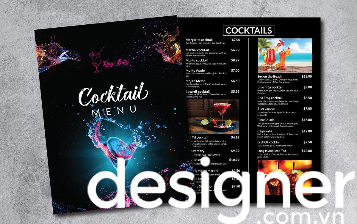 Top 4 phong cách thiết kế menu quán Cocktail Bar