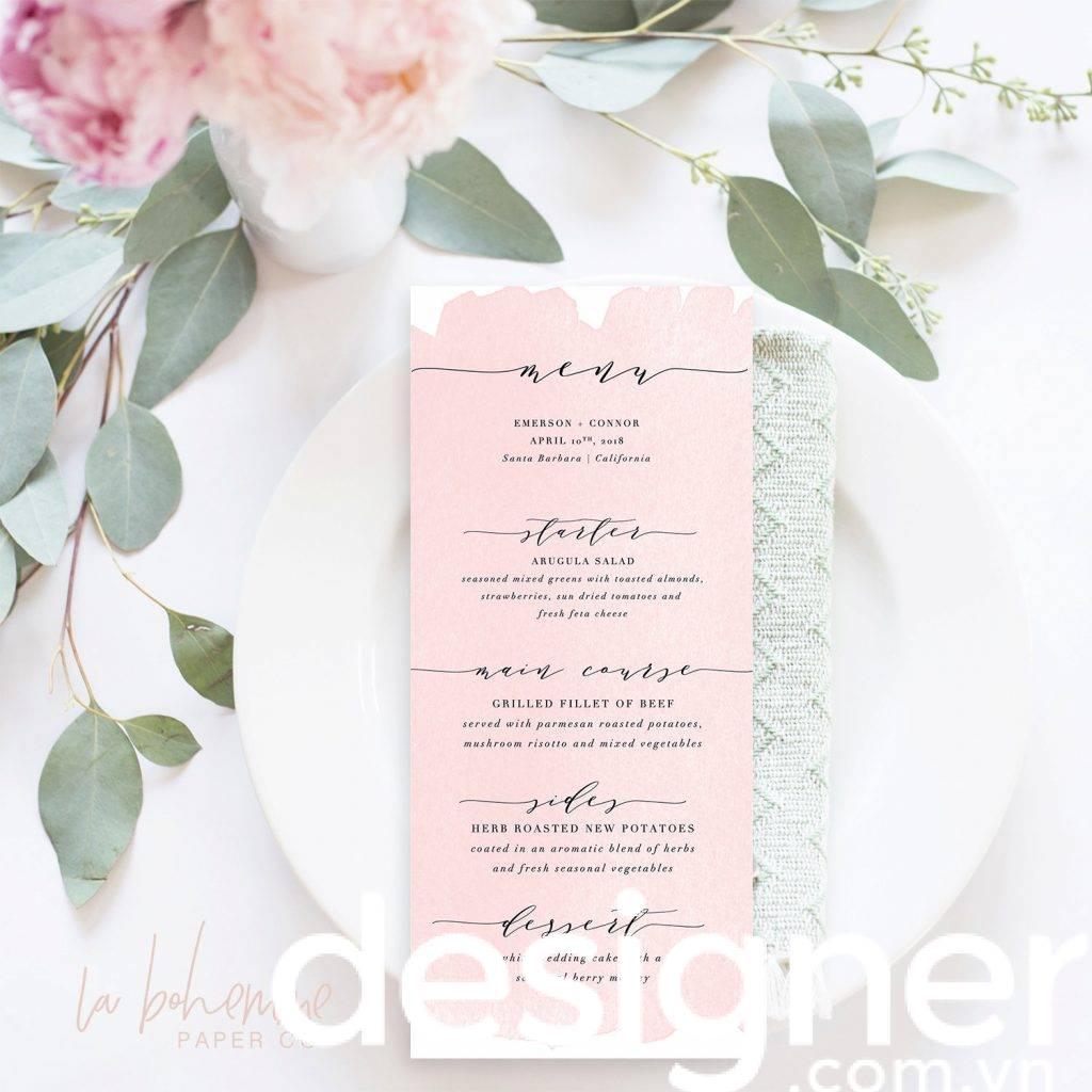 Blush Pink Printable Wedding Menu