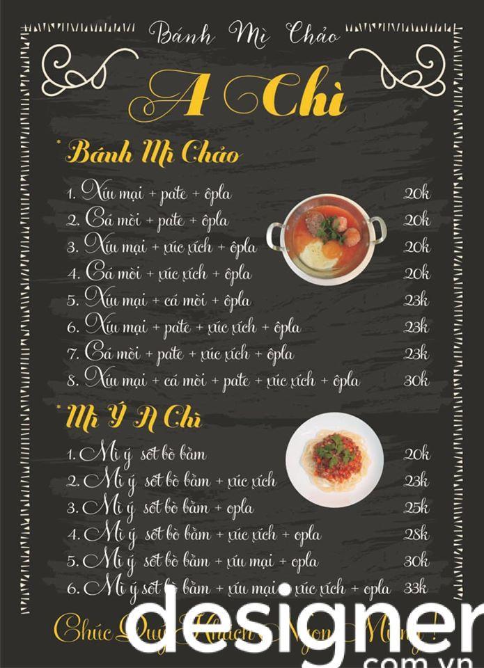 Top 4 phong cách thiết kế menu quán bánh mì chảo